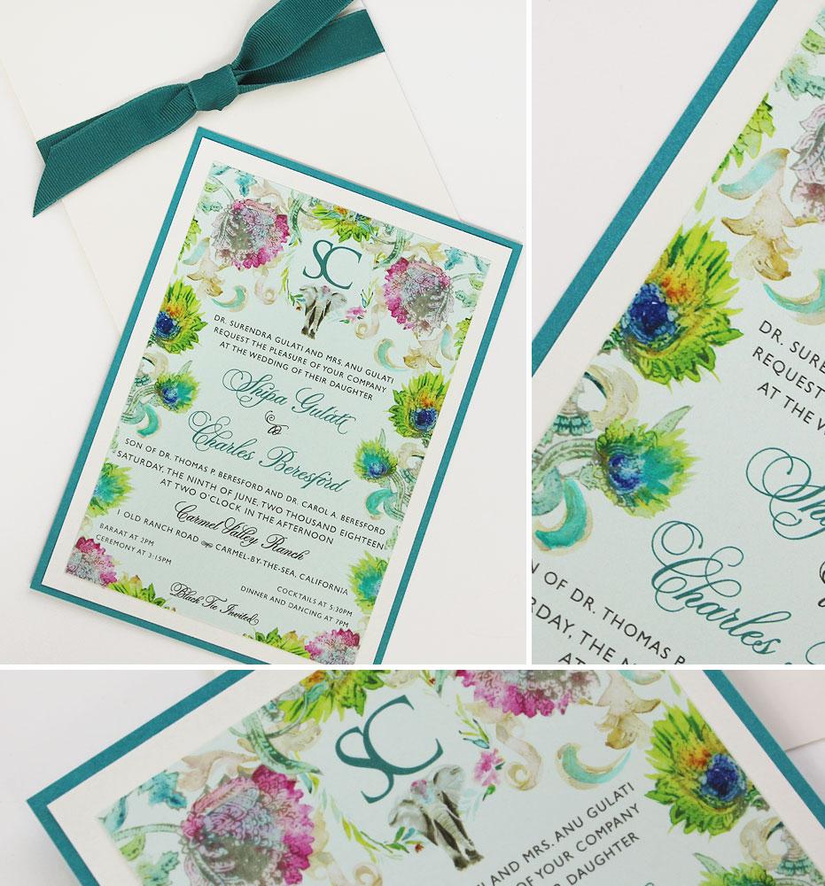 Watercolor Pattern Wedding Invitation