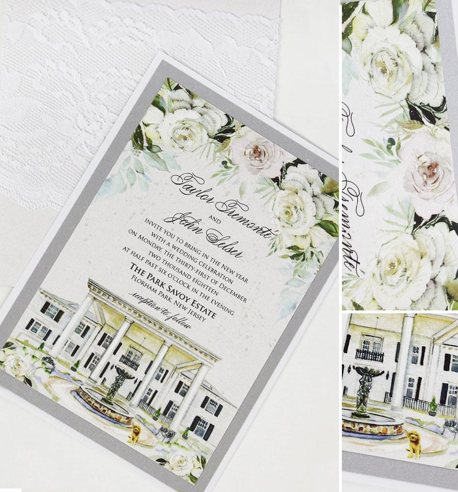 White Rose Wedding Invitations