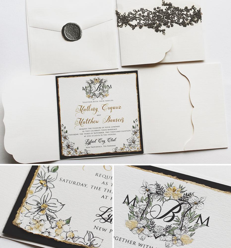 Black Tie Monogram Wedding Invitation
