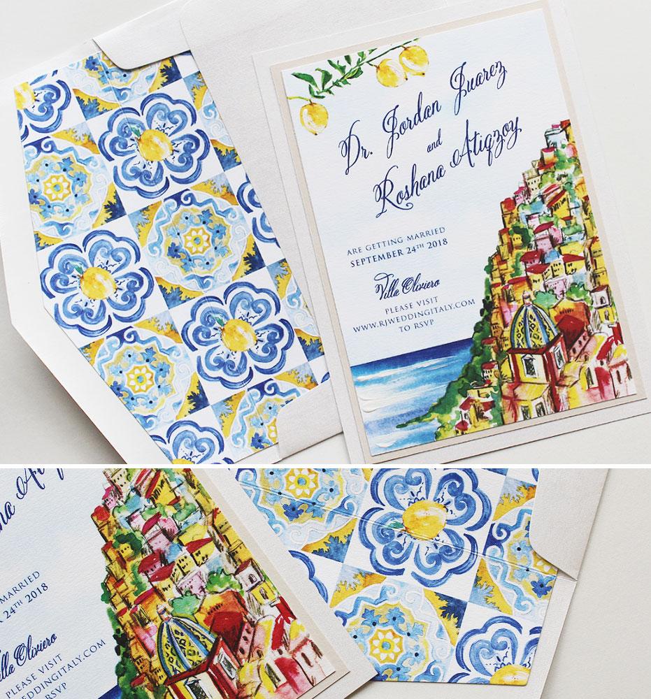Bright Amalfi Coast Wedding Invitations