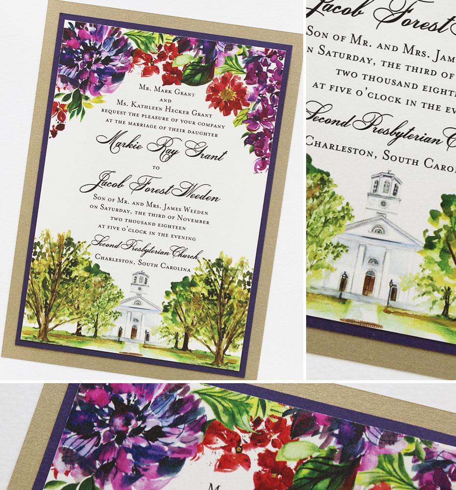 Charleston South Carolina Wedding Invitations