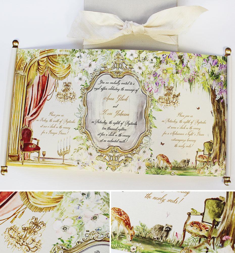 Custom Illustrated Scroll Wedding Invitation
