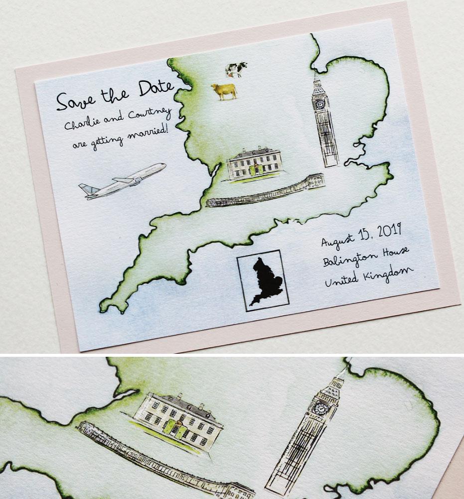 England Destination Wedding Stationery