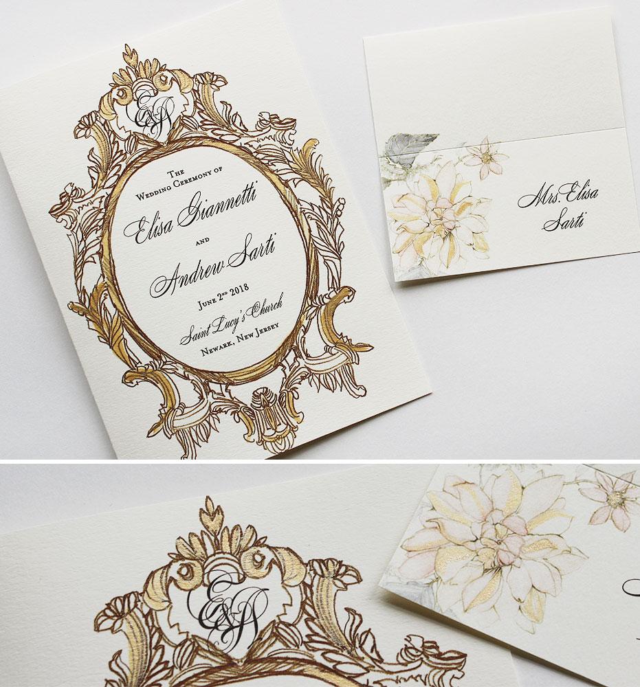 Gold Baroque Frame Wedding Stationery