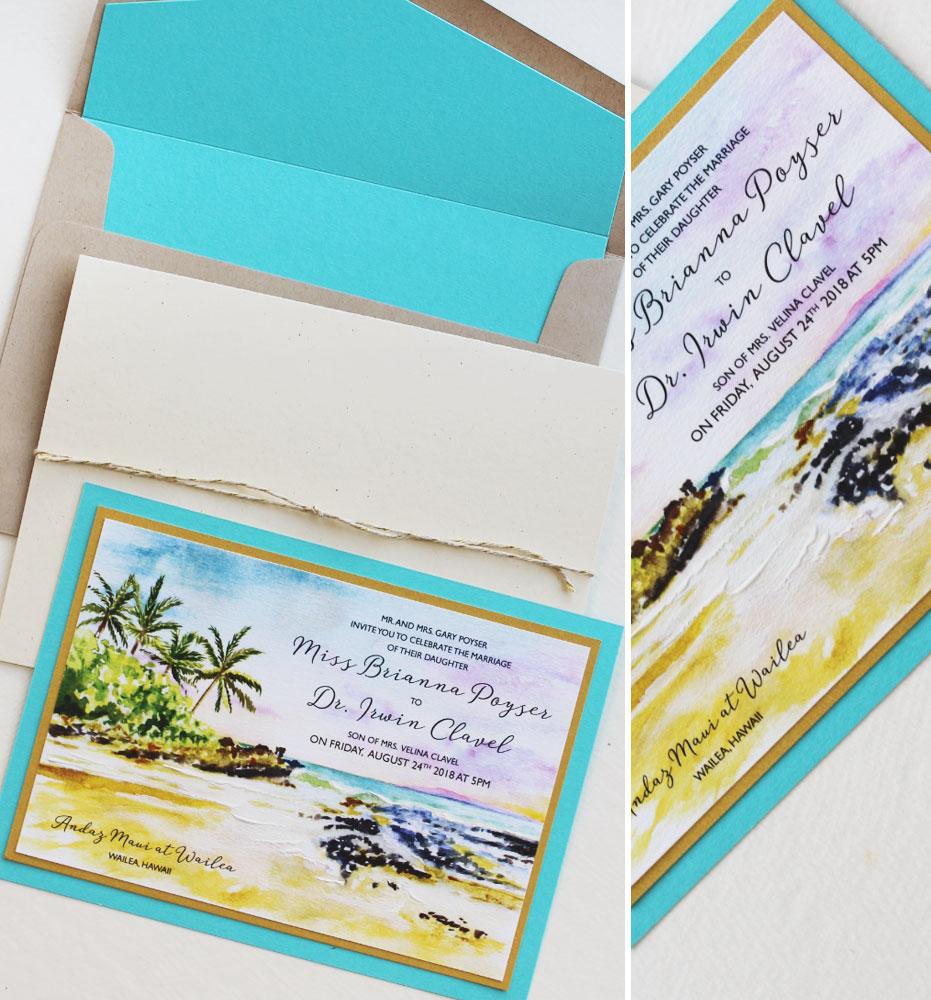 Watercolor Hawaii Beach Wedding Invitation