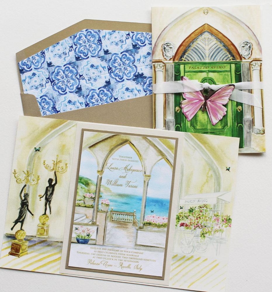 Watercolor Italian Villa Illustration Wedding Invitation