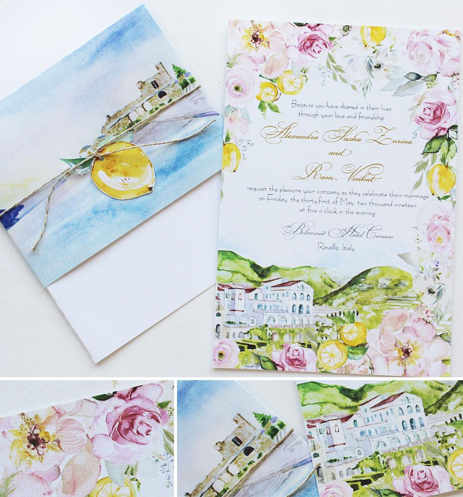 Watercolor Ravello Italy Wedding Invitations
