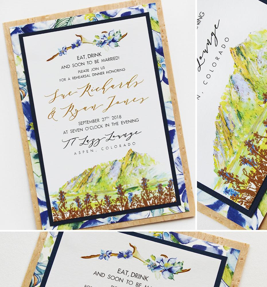 Blue Floral Colorado Wedding Rehearsal Invitation