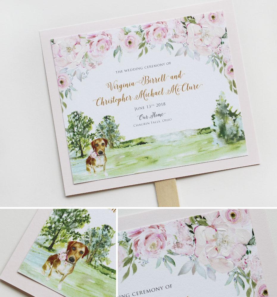Blush Floral Wedding Program