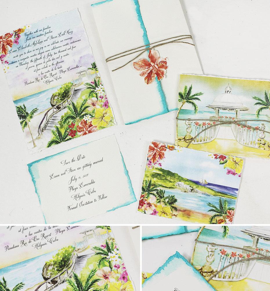 Watercolor Cuba Wedding Invitations