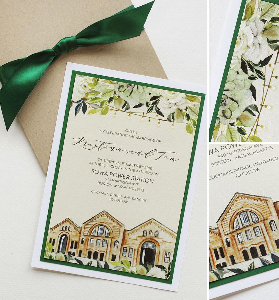 Custom Venue Illustration Boston Wedding Invitation