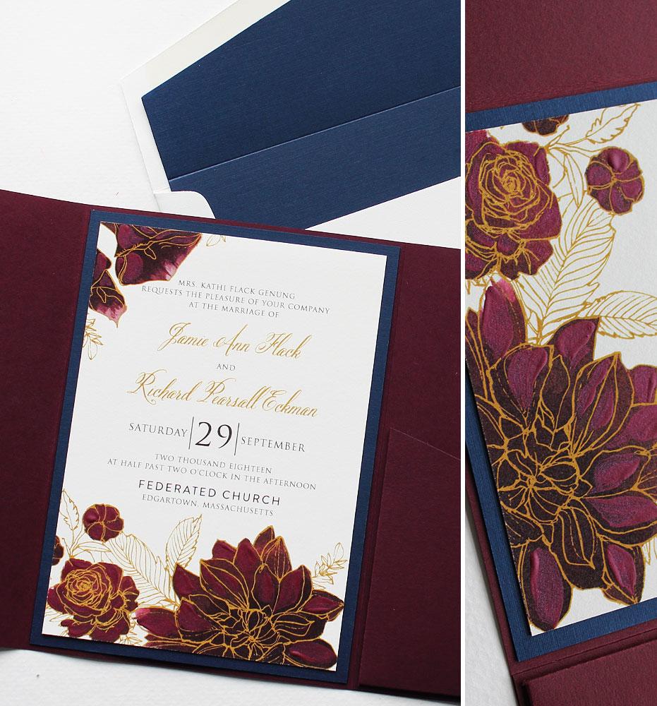 Fall Dahlia Wedding Invitation