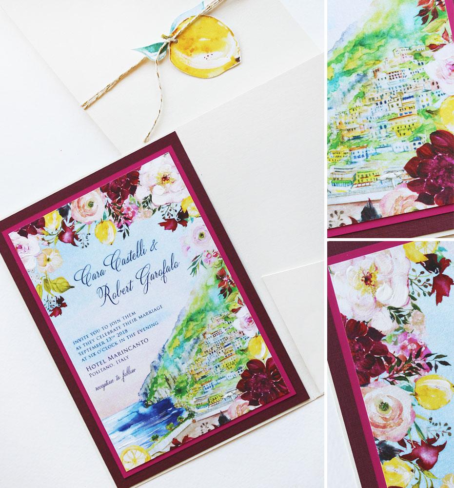 Fuchsia Floral Positano Italy Wedding Invitation