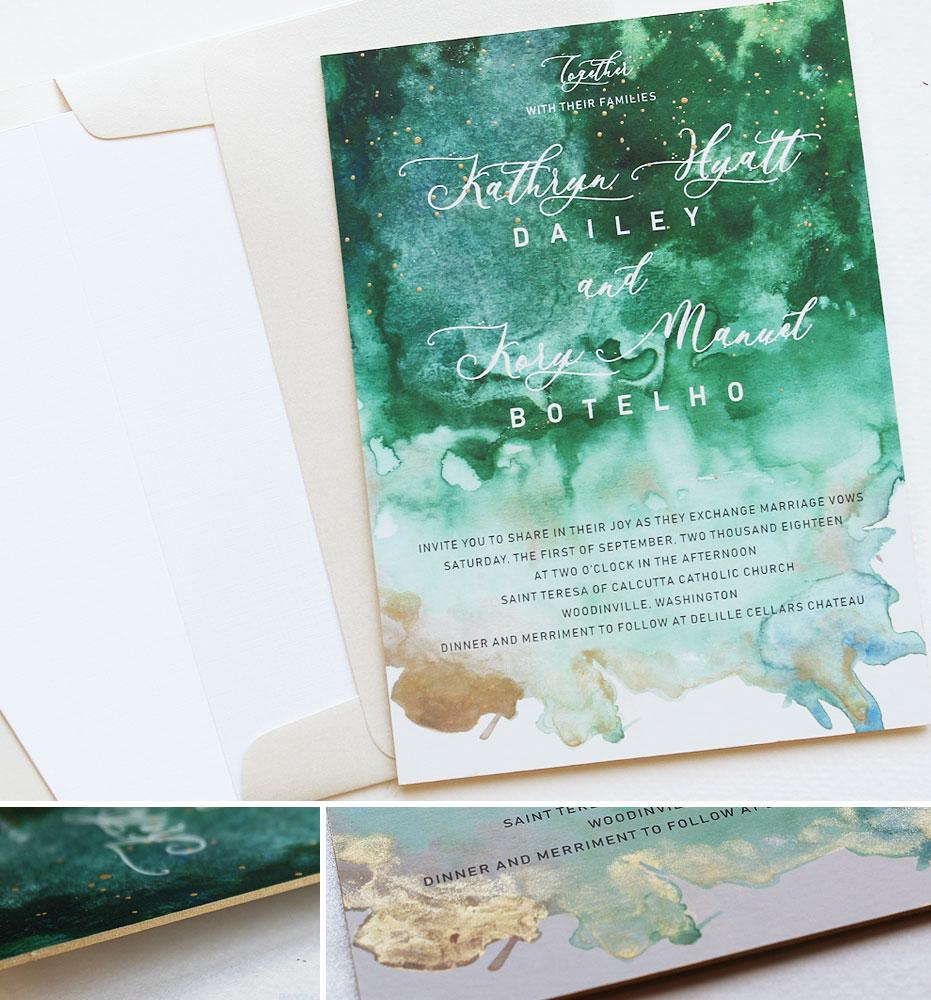 Modern Green Watercolor Wedding Invitations