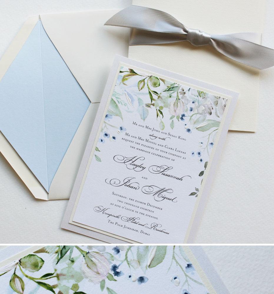 Soft Watercolor Floral Wedding Invitations