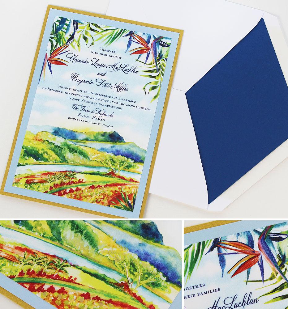 Watercolor Tropical Wedding Invitations