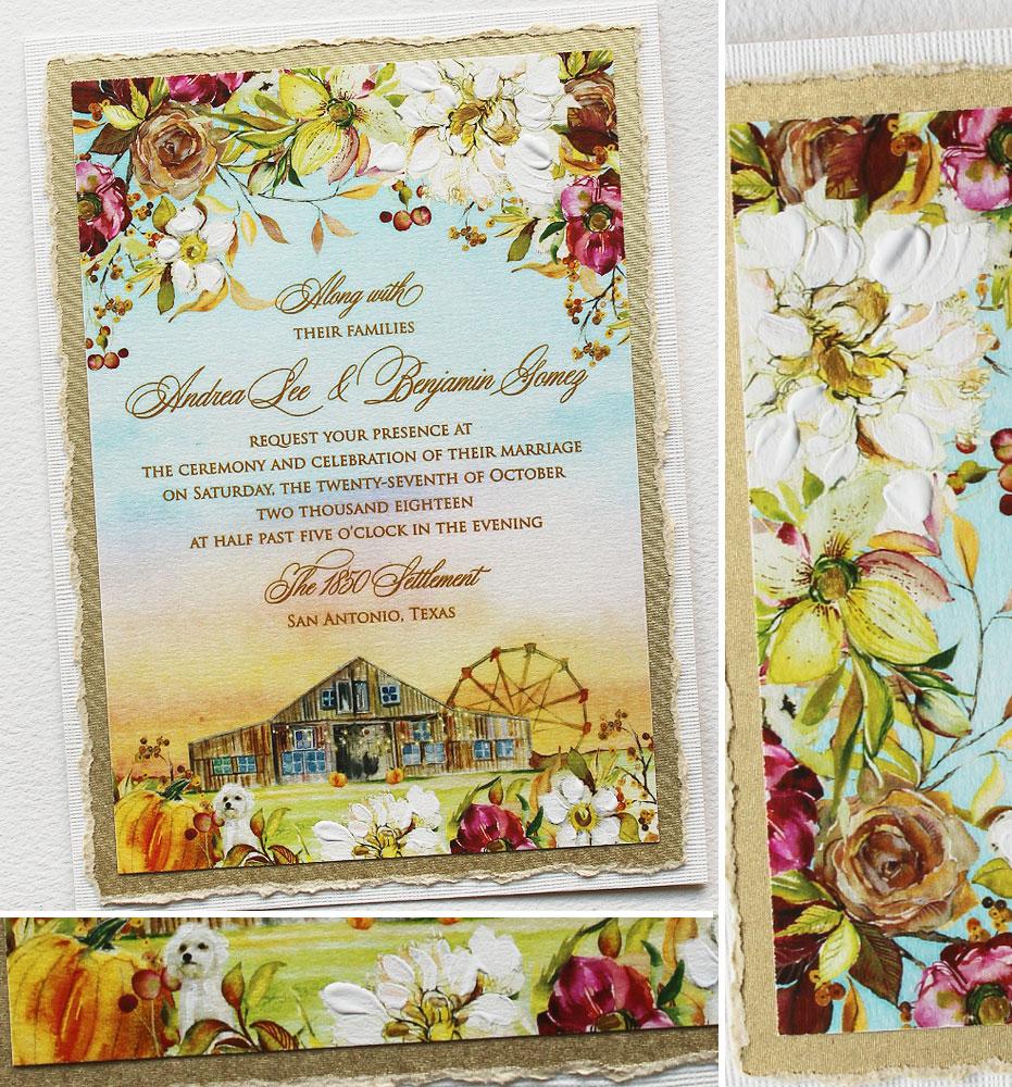 Watercolor Fall Wedding Invitations