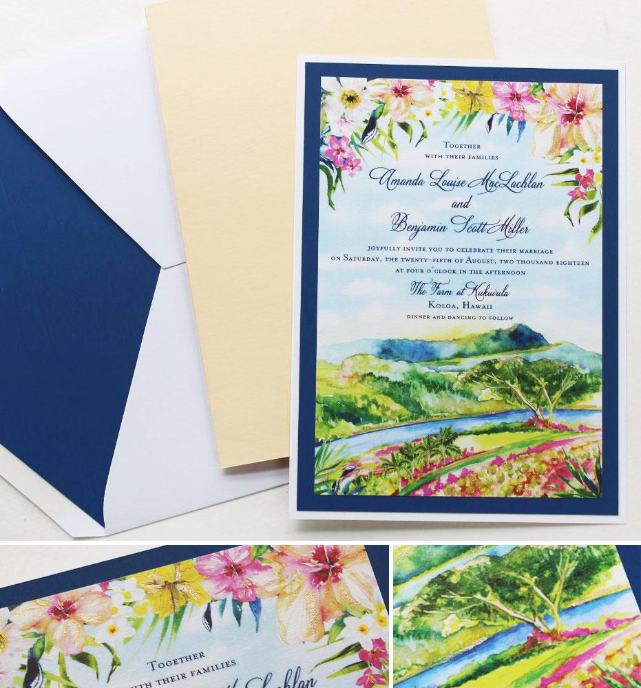 Watercolor Hibiscus Hawaii Wedding Invitations