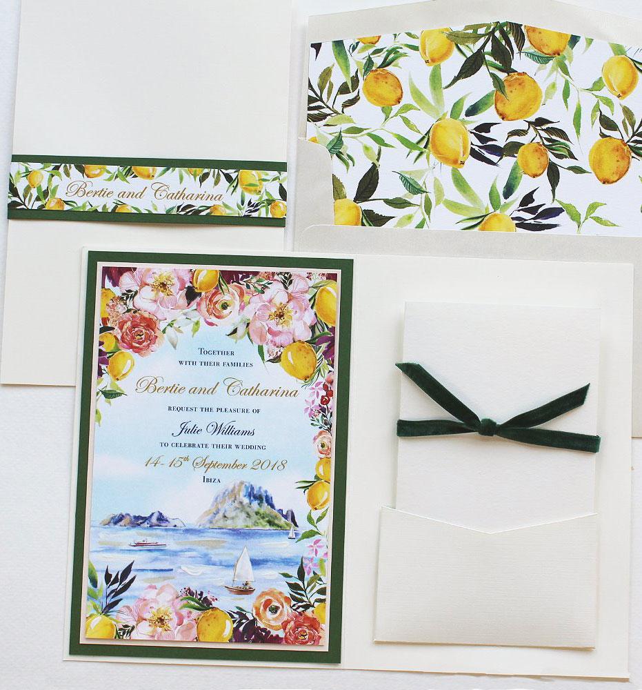 Watercolor Ibiza Spain Wedding Invitation