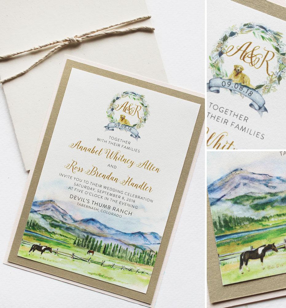 Watercolor Mountain Landscape Wedding Invitation