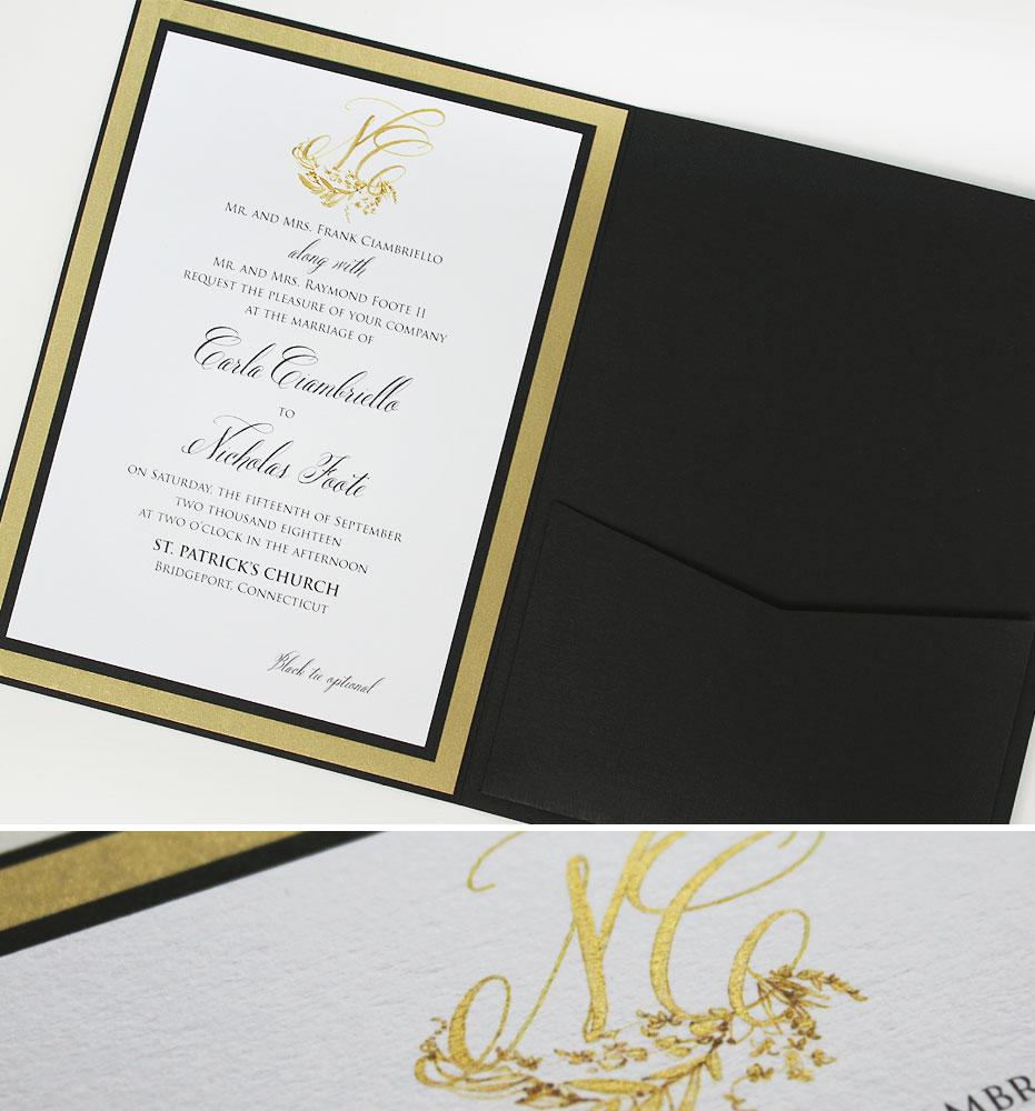 Black Tie Monogram Wedding Invitations