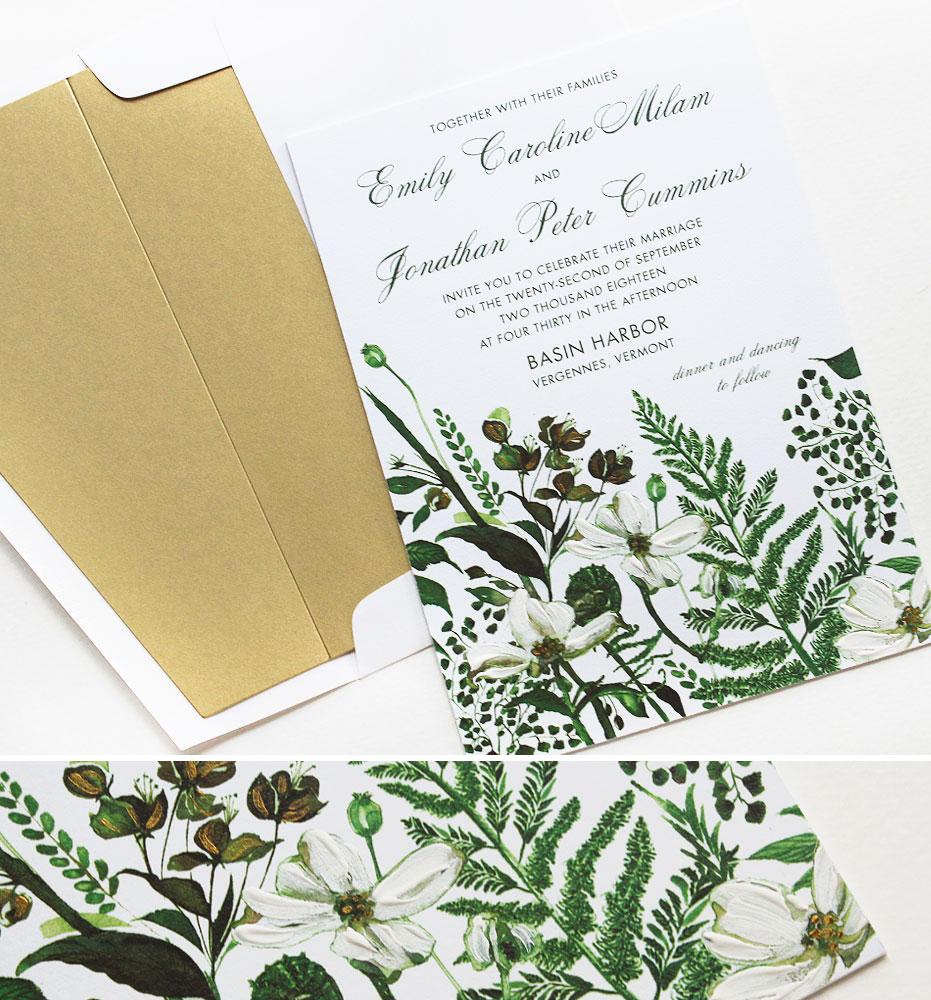 Botanical Watercolor Wedding Invitations
