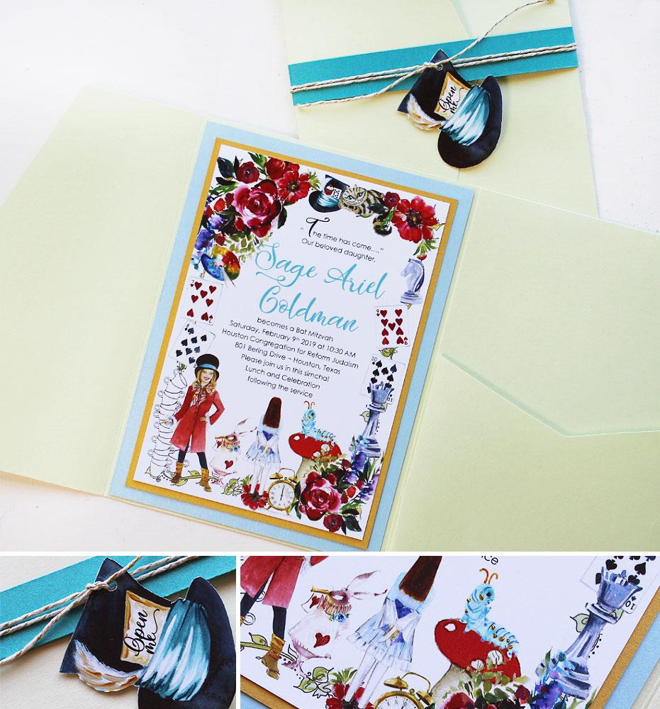 Custom Alice in Wonderland Bat Mitzvah Invitation