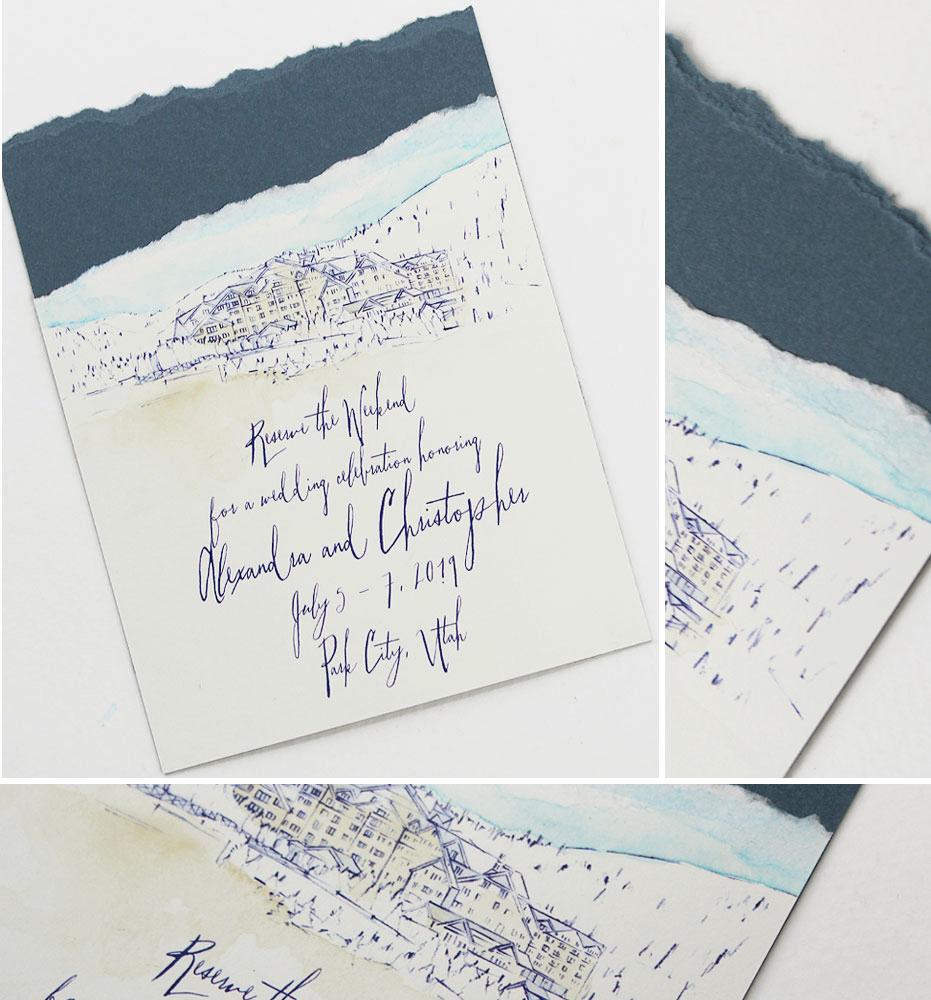 Rustic Elegant Utah Wedding Invitation