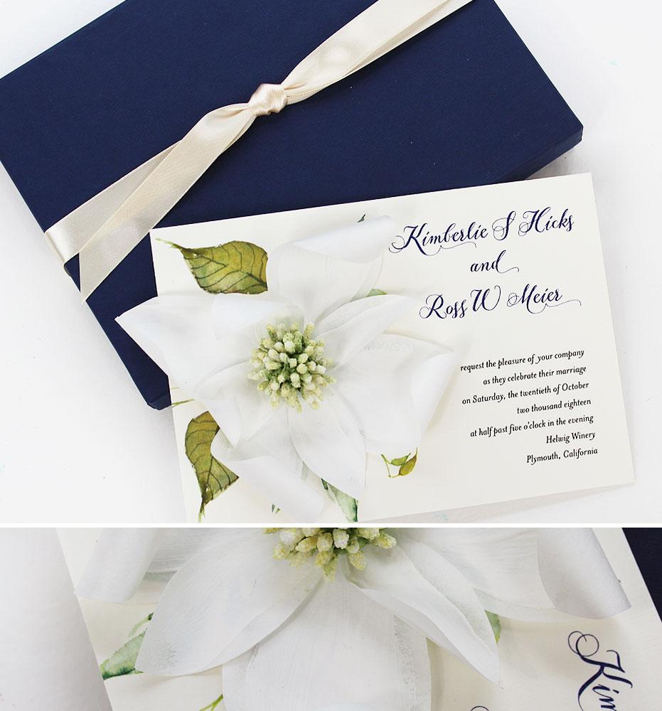Magnolia Sculpted Bloom Wedding Invitations