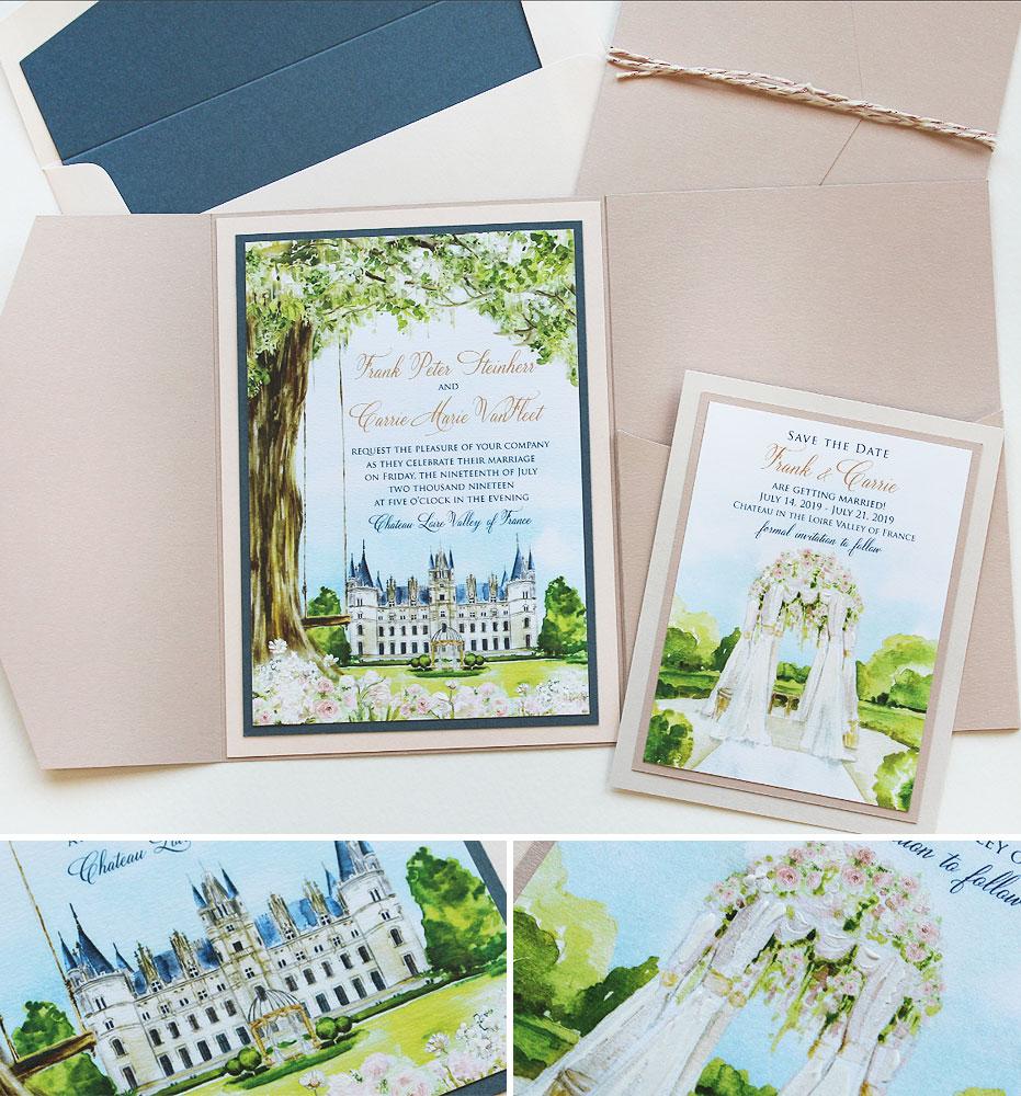Watercolor France Destination Wedding Invit
