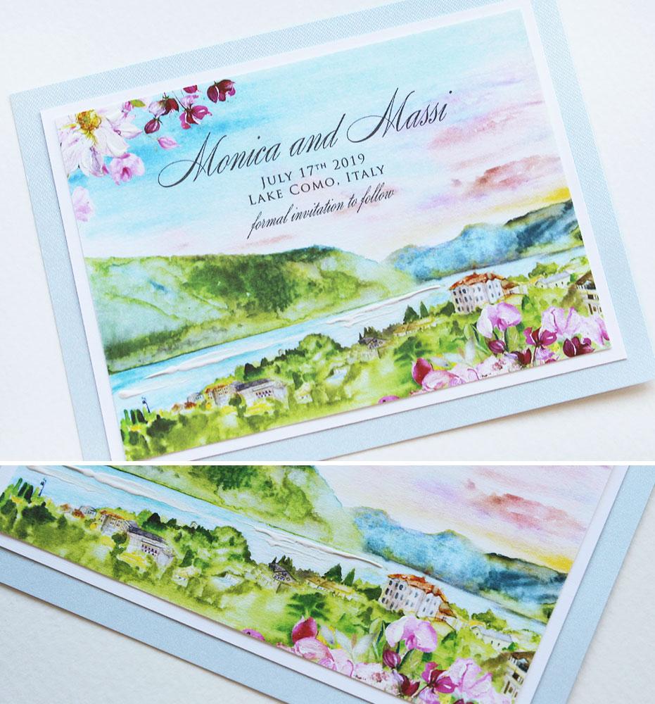 Watercolor Lake Como Landscape Wedding Stationery