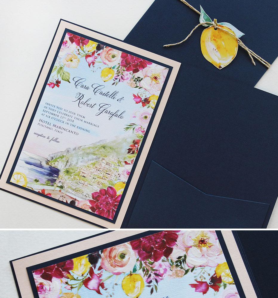 Watercolor Positano Italy Wedding Invitations