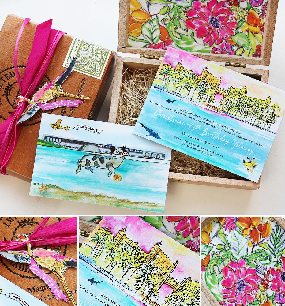 Watercolor Tropical Fortieth Birthday Invitation