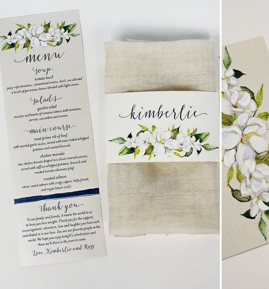 White Floral Wedding Menus