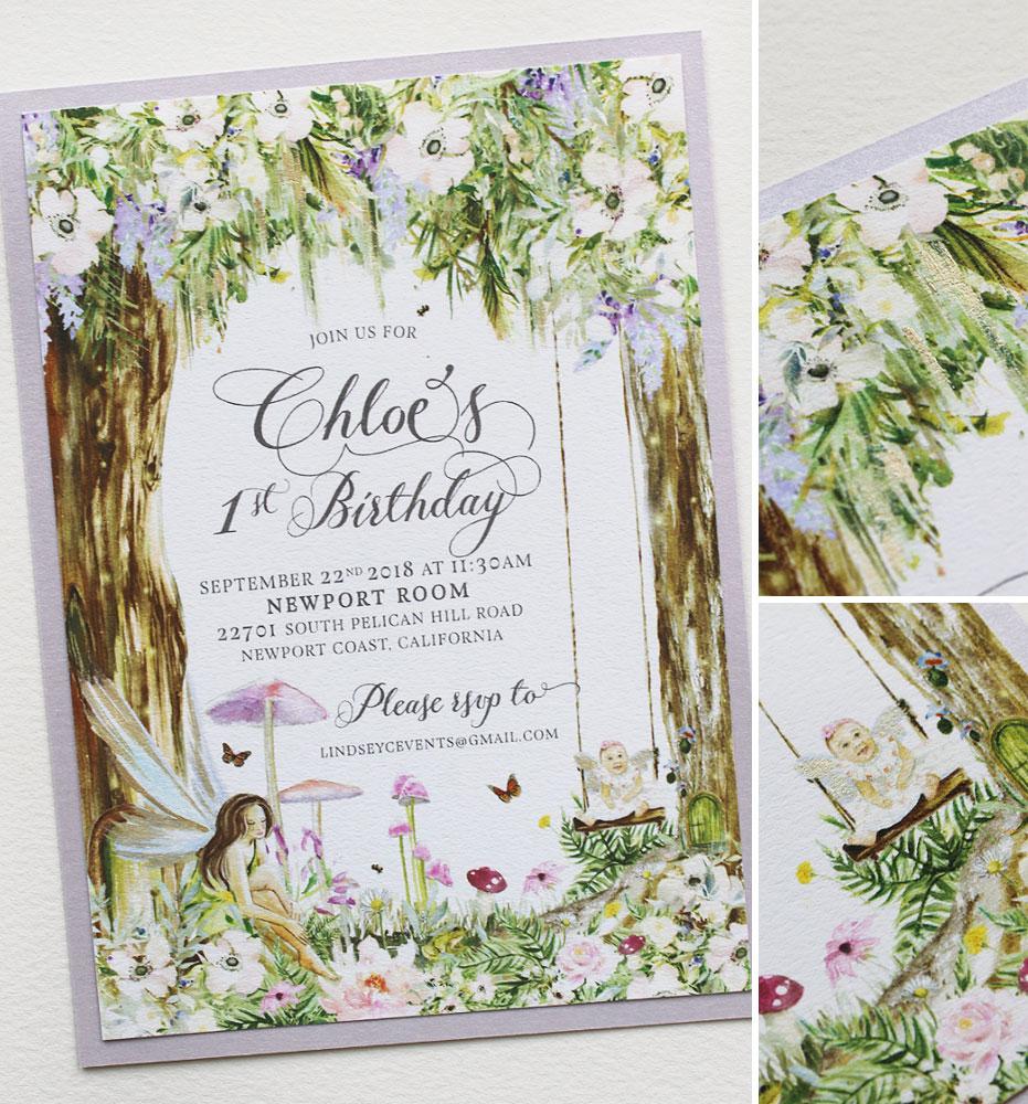 Custom Illustrated First Birthday Invitations