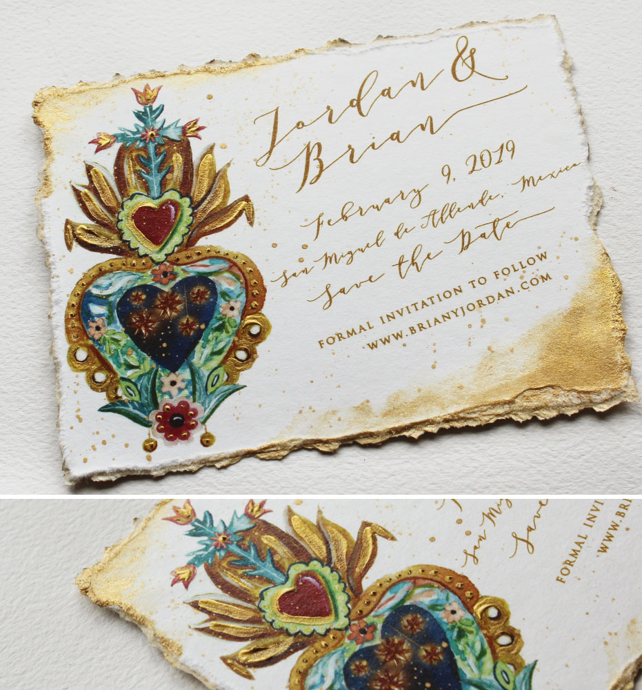 Custom Illustrated Watercolor Save the Dates