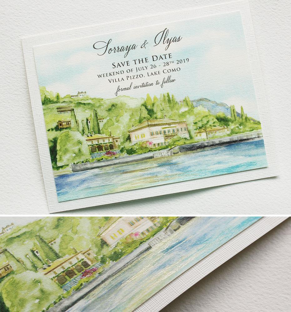 Custom Watercolor Venue Illustration Wedding Invitation