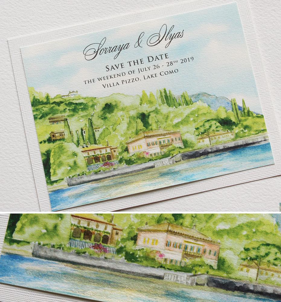 Lake Como Watercolor Wedding Save the Date