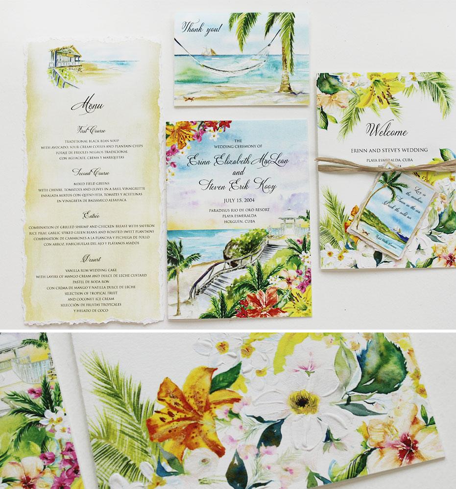 Watercolor Cuba Wedding Stationery