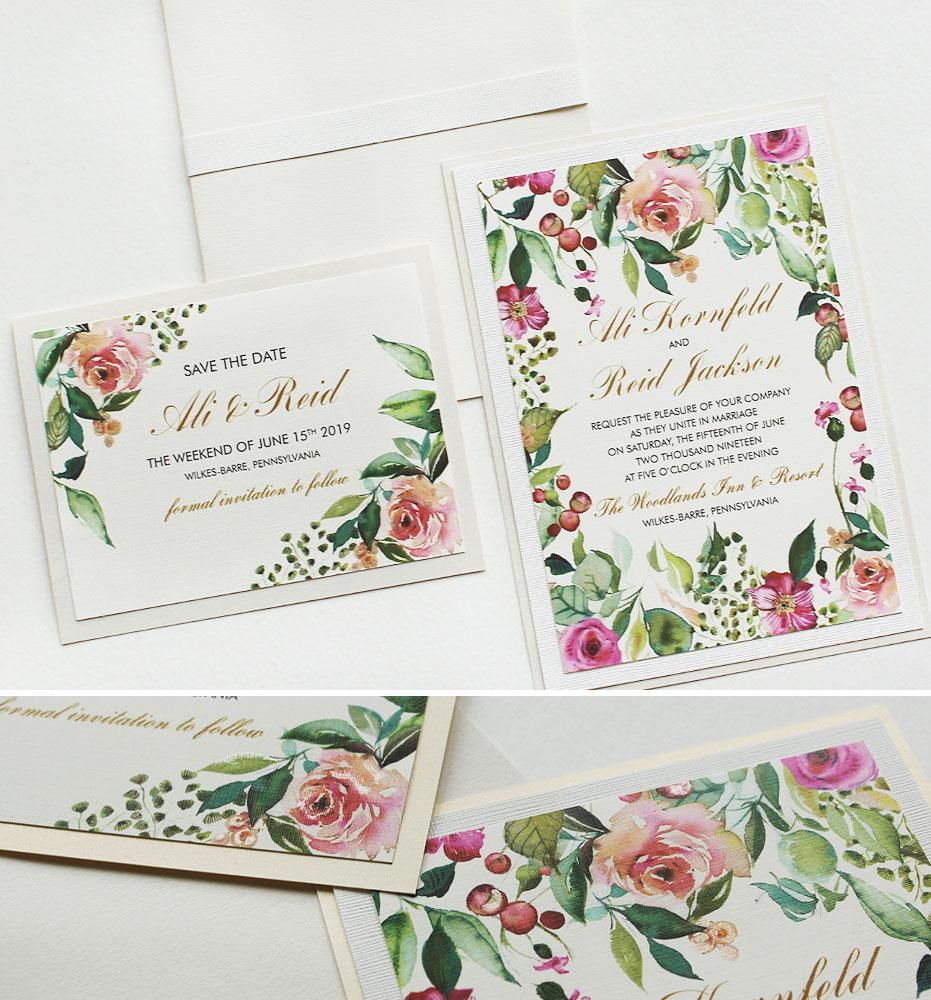 Pink Watercolor Rose Wedding Invitations