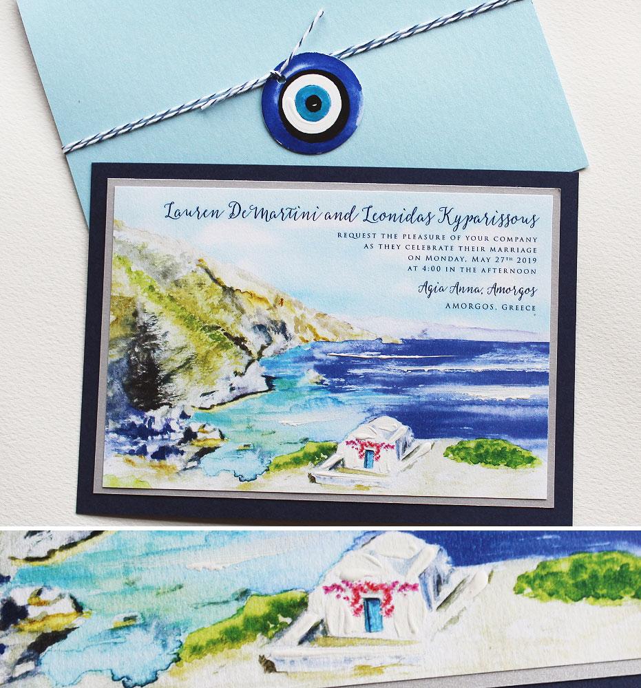 Watercolor Greece Destination Wedding Invitation