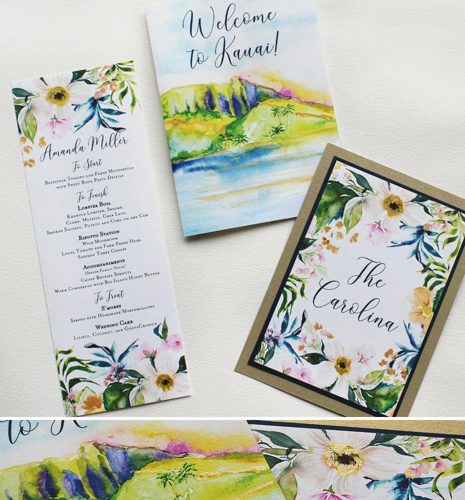 Watercolor Hawaii Wedding Day Accessories