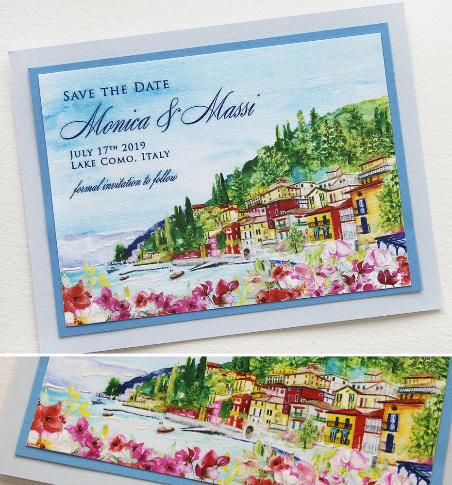 Watercolor Lake Como Landscape Wedding Invitation