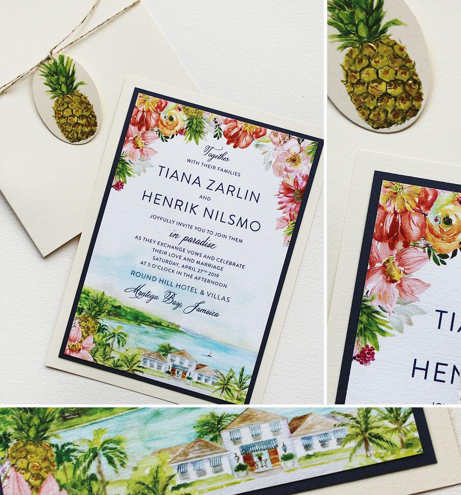 Watercolor Tropical Floral Wedding Invitations