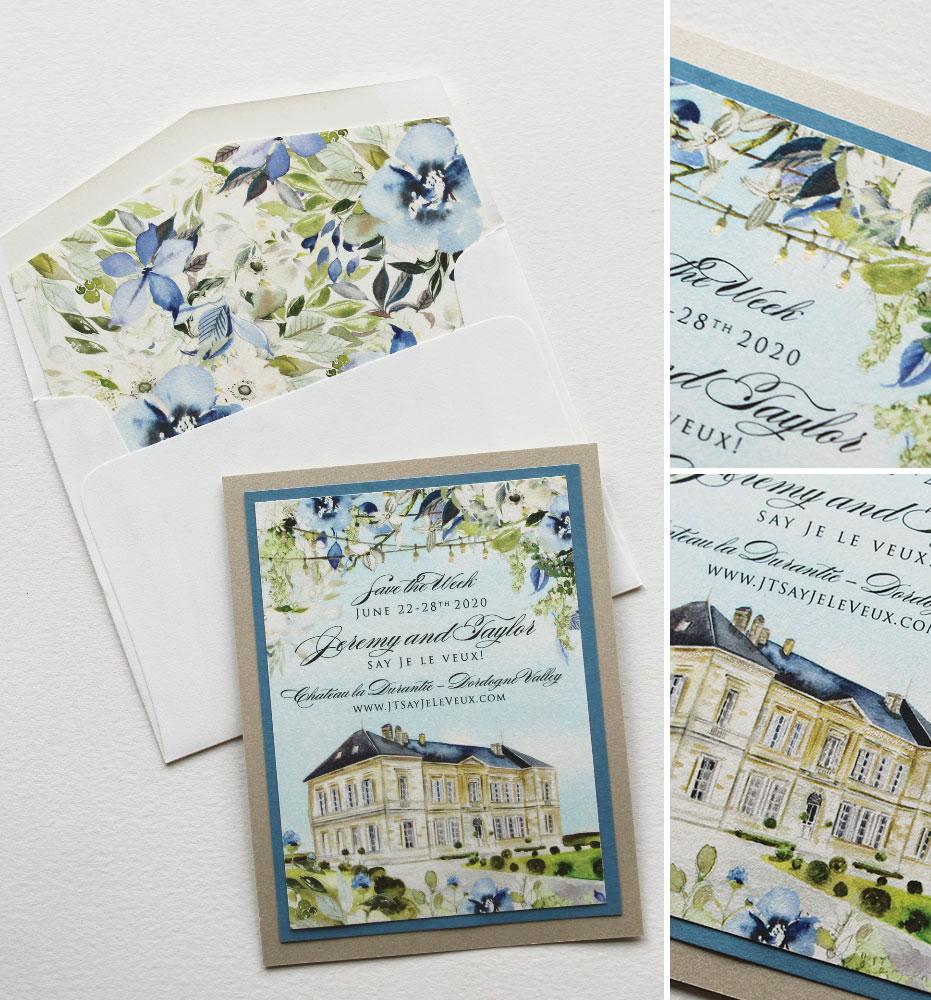Chateau La Durantie Wedding Save the Date