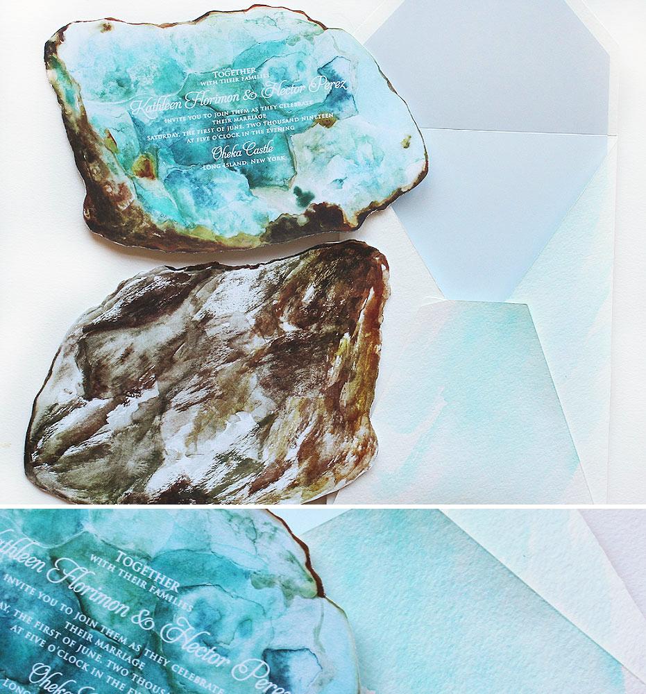 Watercolor Geode Wedding Invitation
