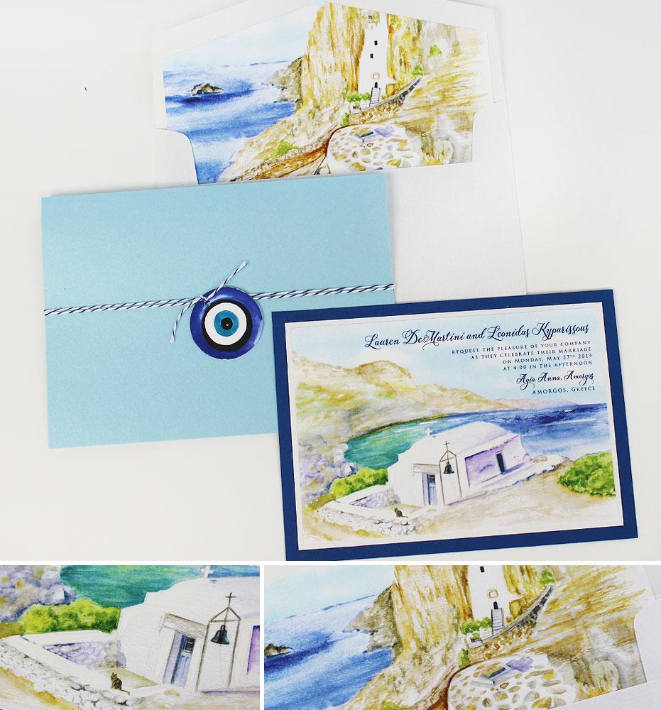 Greece Watercolor Wedding Invitation