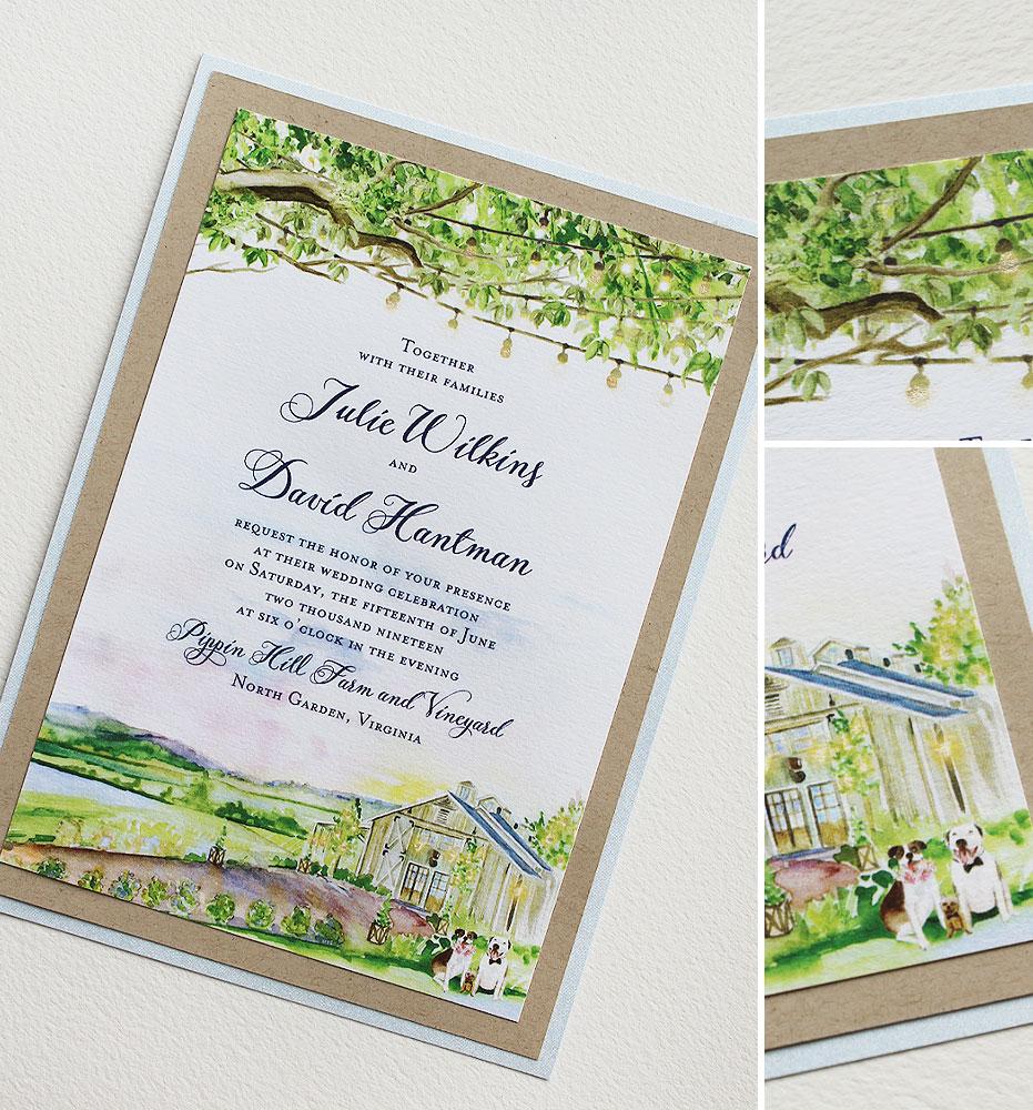 Pippin Hill Vineyard Wedding Invitation
