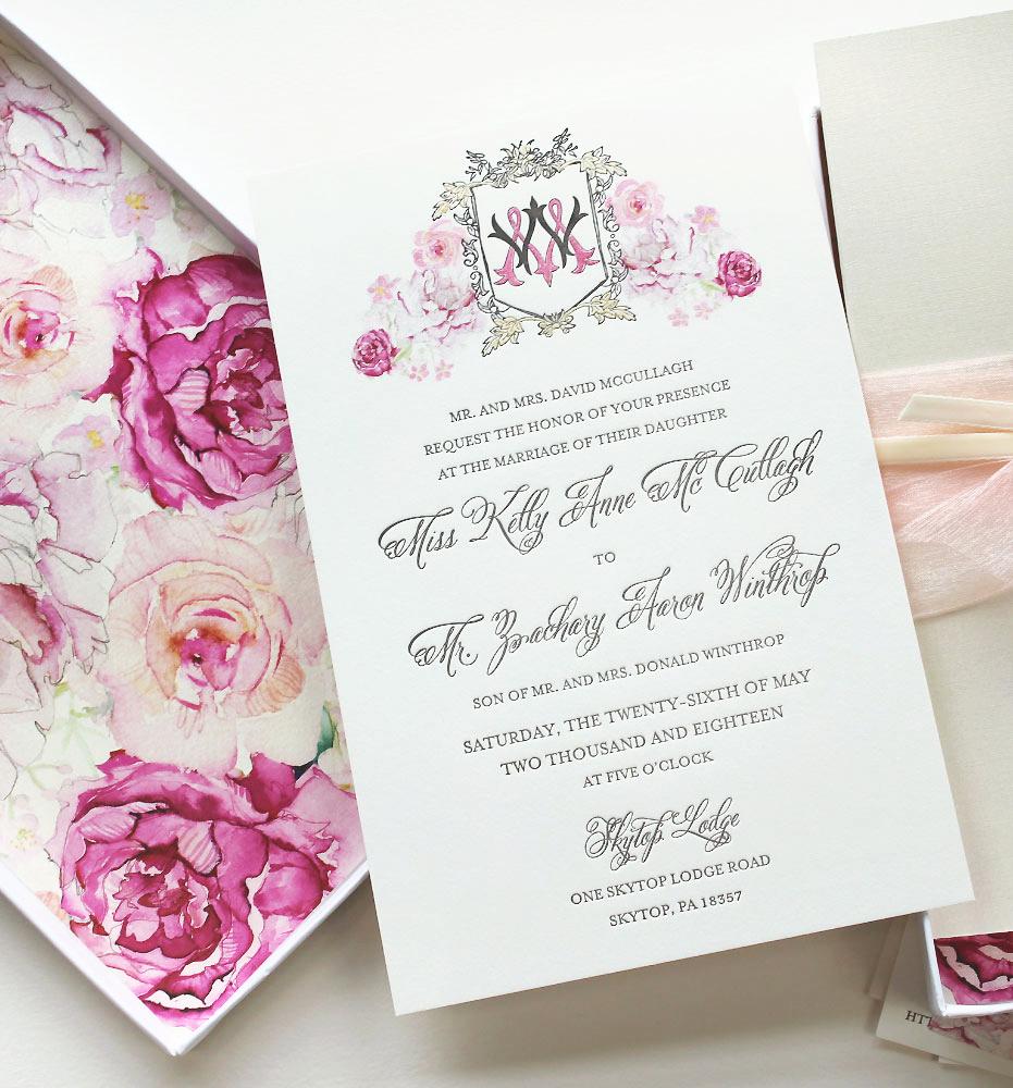 Watercolor Floral Monogram Wedding Invitation