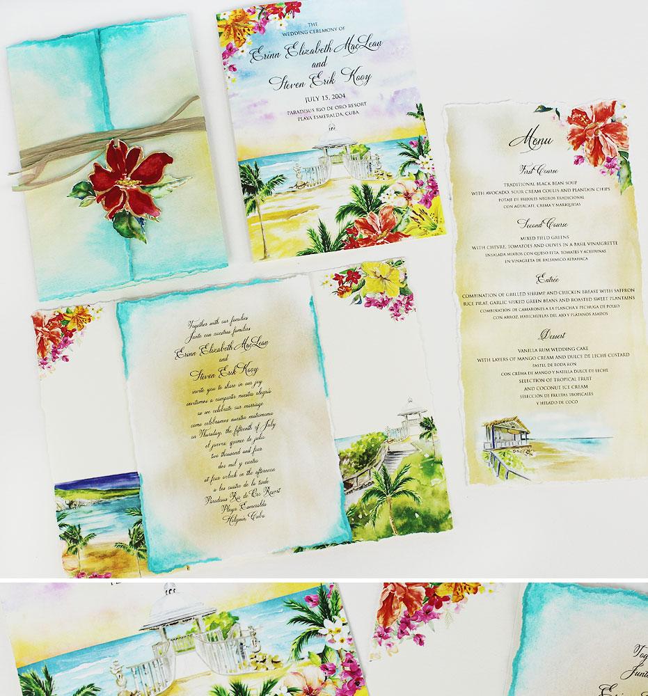 Watercolor Ocean Beach Wedding Invitations